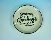 Seasons Greetings Plate // Hand-painted Christmas Cookie Platter  // winter Christmas - READY TO SHIP