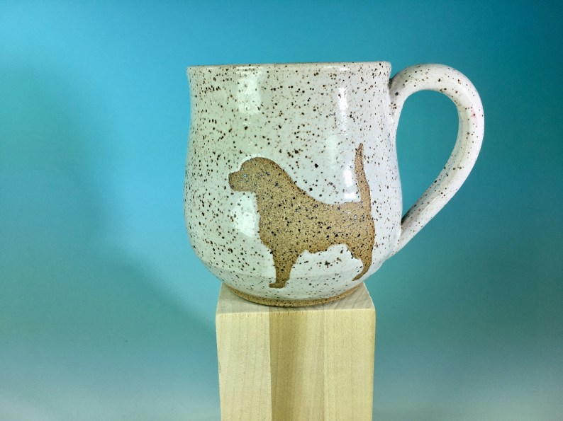 Sheep Dog Silhouette Mug in Speckled White // Handmade Mug with Dog Silhouette // Gifts Dog Moms and Dog Dads - READY TO SHIP