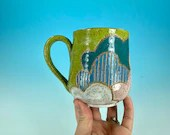 Clouds Mug // Hand-Carved Mug, Brightly Colored Cloud Mug, Green Sky // Handmade Ceramic Mug // Spring // Pride // Love - READY TO SHIP