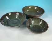 Nested set of 3 shallow blue green serving bowls // handmade dinnerware or serviceware // Housewarming or Wedding Gifts - READY TO SHIP