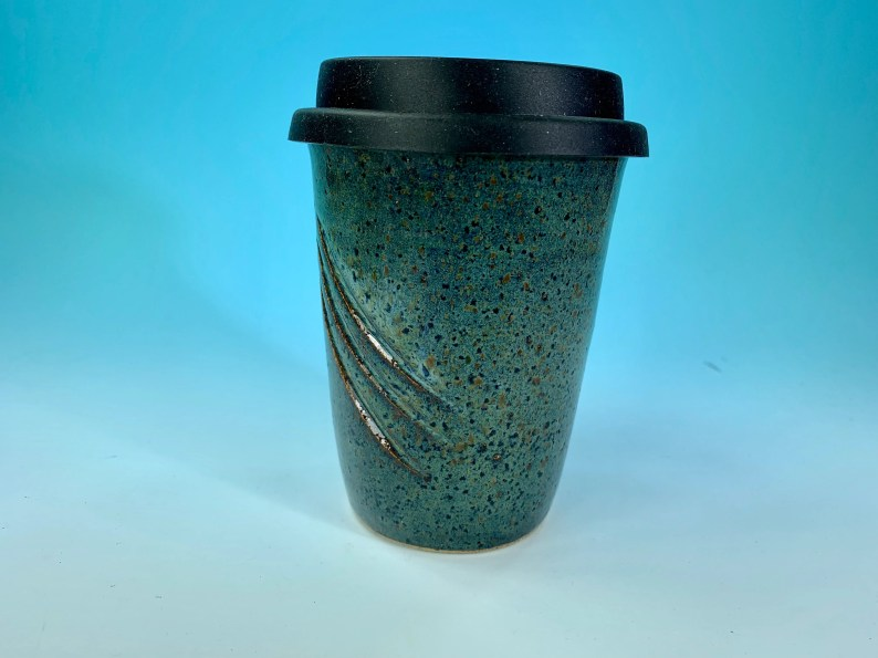 Carved Lines Travel Mug in Denim Blue // Handmade // for Coffee, Cocoa & Tea Lovers // Microwave and Dishwasher Safe - READY TO SHIP