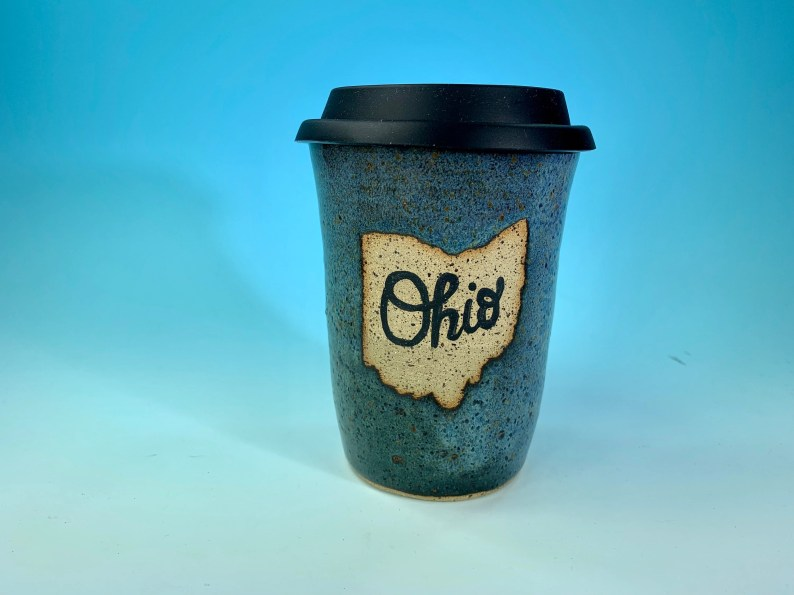 """Ohio Travel Mug in Denim Blue // Handmade Ceramic Mug with """"Ohio"""" // Gifts  for Ohioans, Travelers or College Students - READY TO SHIP"""