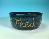 Feed Me Human Large Denim Blue  Hand-Carved Pet Bowl  // Large Handmade Dog Food Dish // Gifts for Pet Lovers - READY TO SHIP