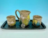 Miniature 4-Piece Ceramic Iced Tea Service with Tray // mountain design // For Teddy Bear Tea Parties, Children and Girls- READY TO SHIP