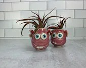 Mini Love Monster Planter with Air Plant Hair // Air Plant Included // Valentines Day // Hearts // Love // Wheel-Thrown - READY TO SHIP