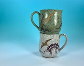Dinosaur Mug in Various Colors // Handmade Mug with T-Rex Silhouette // Gifts for Geeks, Historians, Dinosaur Lovers - READY TO SHIP
