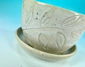 White Carved Planter // Hand-Carved Planter with Saucer // Handmade Ceramic Flower Pot // Spring // Summer - READY TO SHIP