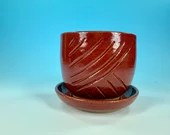 Red Carved Planter // Hand-Carved Planter with Saucer // Handmade Ceramic Flower Pot // Spring // Summer - READY TO SHIP
