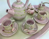 Miniature 17-Piece Ceramic Tea Service with Tray // Hand-Painted in Pink Stripes and Roses // For Tea Parties and Children - READY TO SHIP
