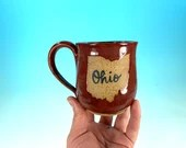 "Ohio Mug in Red // Handmade Ceramic Mug with ""Ohio"" // Gifts  for Ohioans, Travelers or College Students - READY TO SHIP"