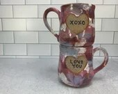 Candy Heart Mug // Marbled Glaze Ceramic Mug with Candy Heart Phrases // Valentines Day // Hearts // Love // Wheel-Thrown - READY TO SHIP