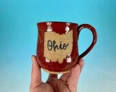 Ohio Mug in Red // Handmade Ceramic Mug // Gifts  for Ohioans, Travelers or College Students - READY TO SHIP