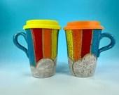 Rainbow and Clouds Travel Mug // Hand-Carved Mug with Rainbow and Blue Sky // Handmade Ceramic Mug // Spring // Pride - READY TO SHIP