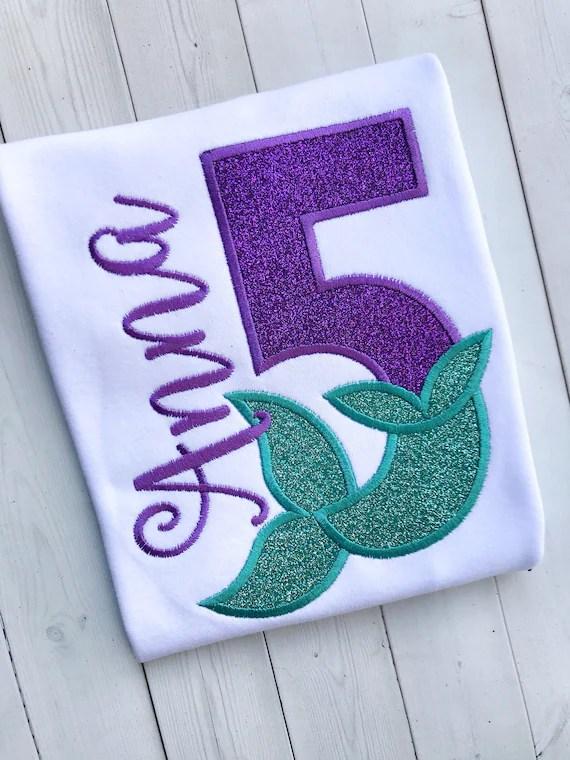 Mermaid Birthday Shirt Personalized 5th Birthday Tee Mermaid Etsy