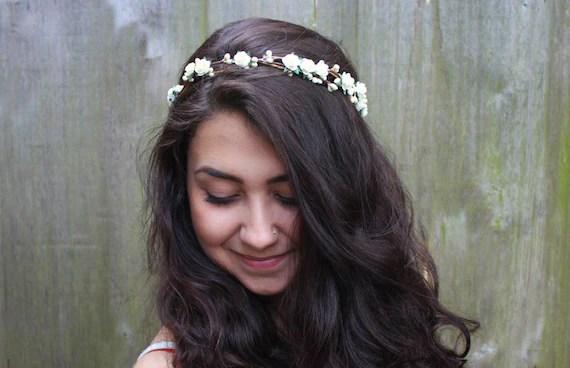 Ivory Bridal Flower Crown Bridal Headpiece Floral Crown