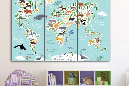 Animal world map canvas full hd pictures 4k ultra full wallpapers amazon com icanvasart animal map of the world by michael tompsett michael tompsett premium thick wrap canvas wall art print entitled animal world map gumiabroncs Choice Image