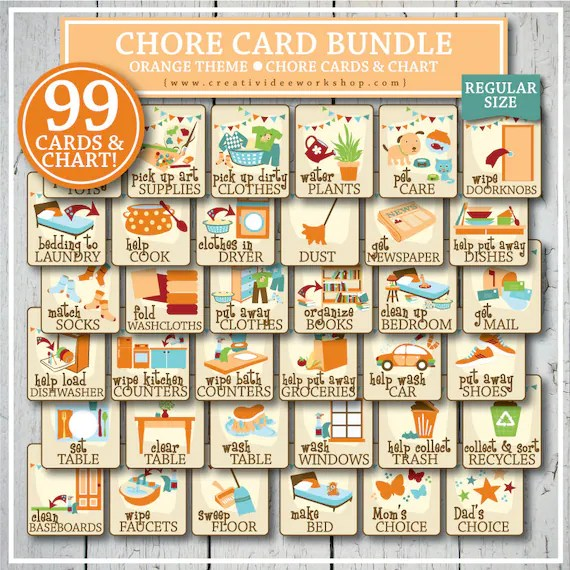 Printable Chore Cards And Chart For Children 99 Total Orange Regular Size