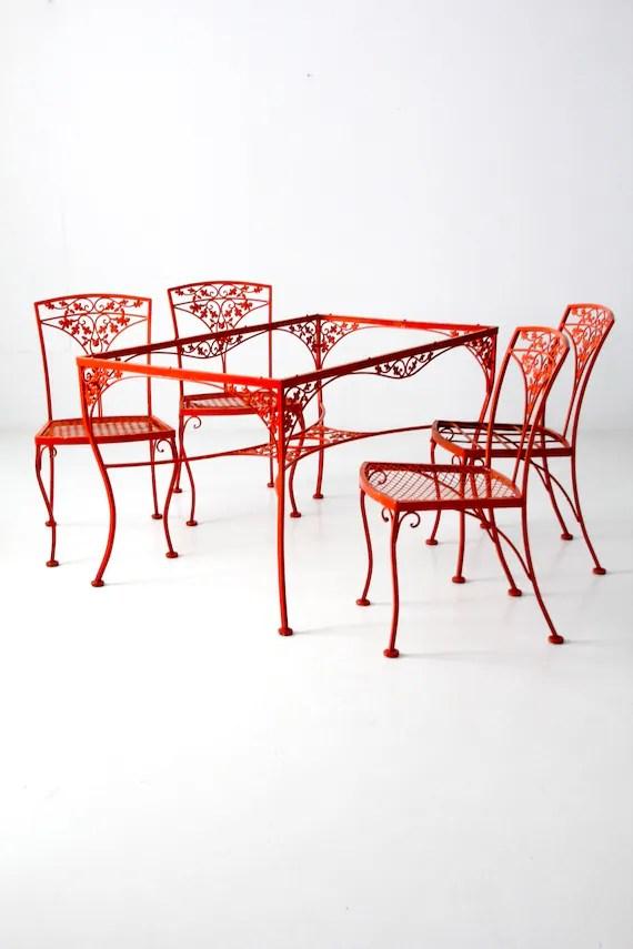 vintage wrought iron patio table set orange outdoor furniture etsy