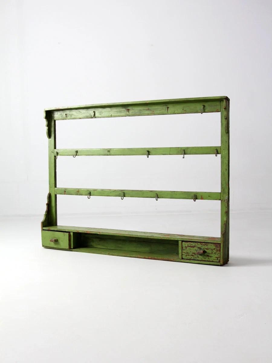 Antique Kitchen Rack Wood Wall Shelf Painted Wood Shelves