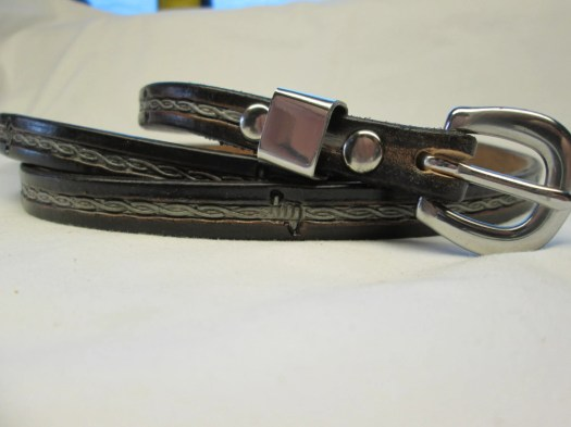Black leather belt , thin...