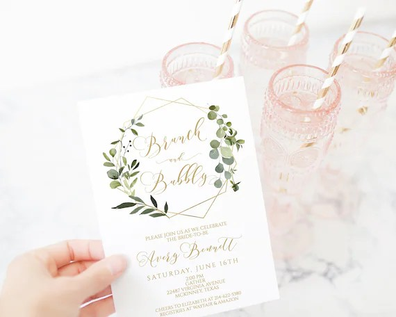 Printable Bridal Shower Invitation Template Brunch And Bubbly Greenery Gold Geometric Diy Printable Couples Shower 100 Editable Text