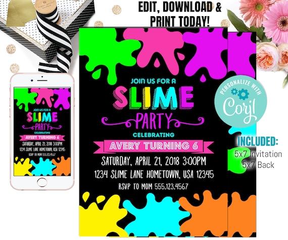 Slime Birthday Party Invitation Slime Invitation Slime Etsy