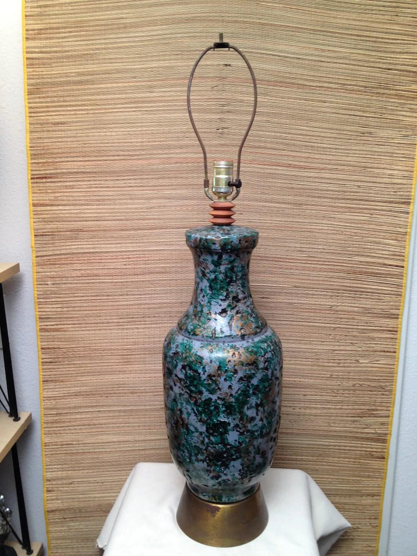 Vintage Mid Century Modern Pottery Ceramic Lamp Brutalist