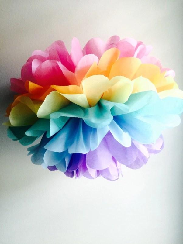 Unicorn party ideas, unicorn fairy pom poms