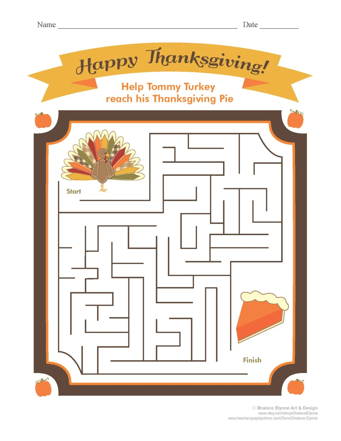 Thanksgiving Maze Printable Game Instant Download
