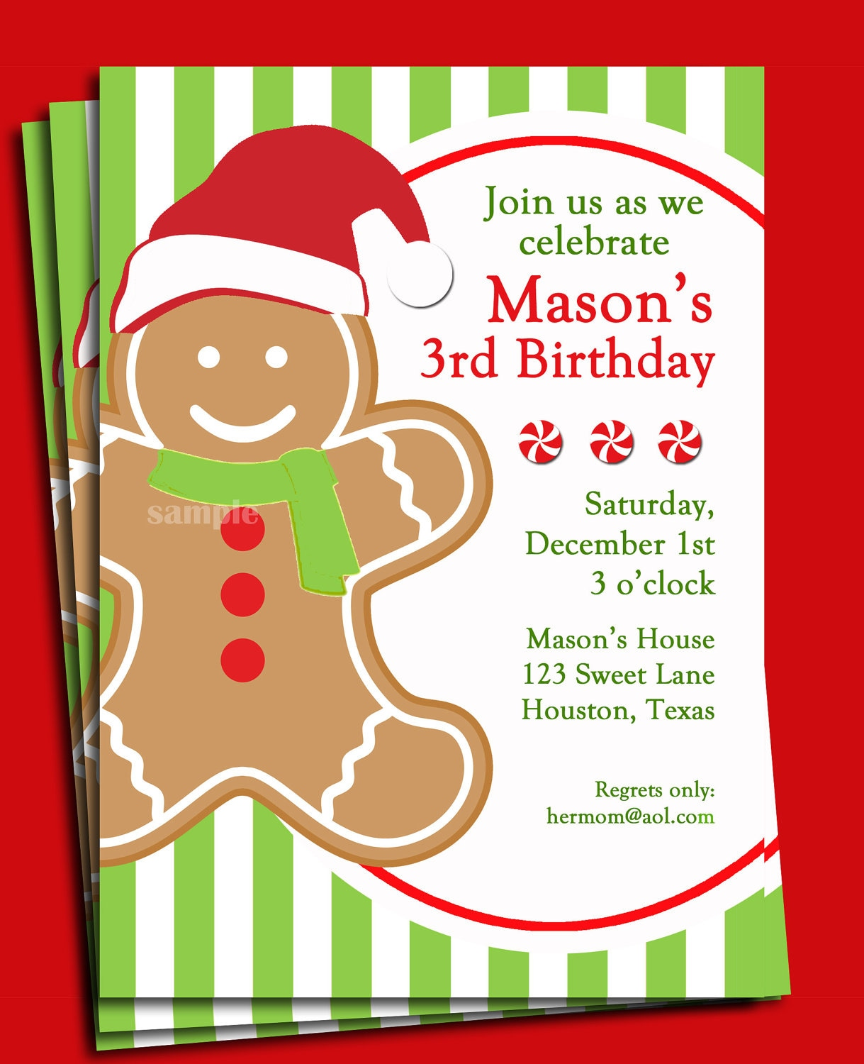 Christmas Gingerbread Boy Invitation Printable Or Printed