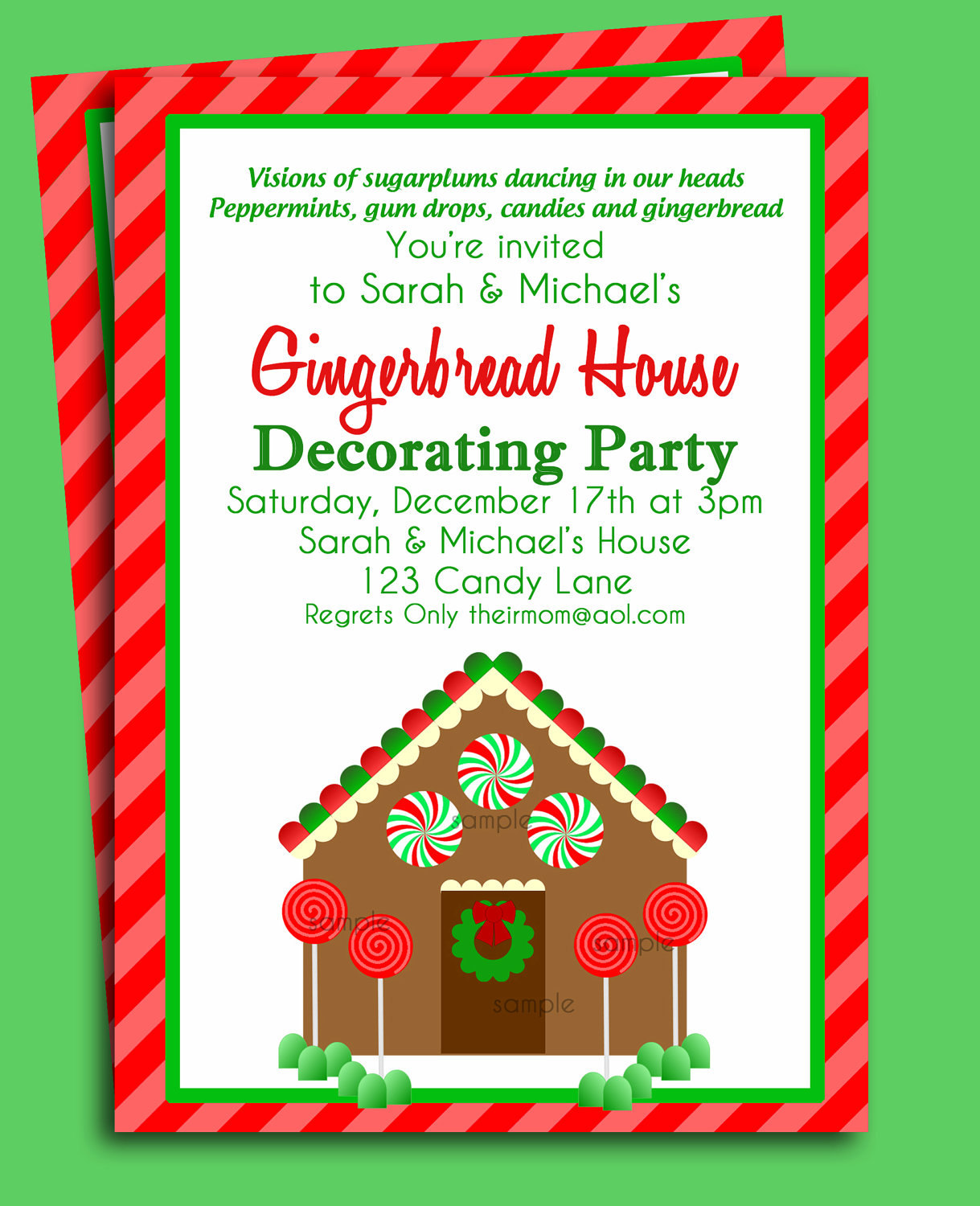 Gingerbread House Invitation Printable Christmas Party Or