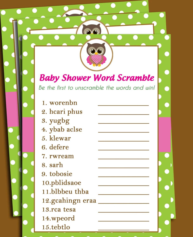 50 Off Sale Owl Baby Shower Word Scramble Printable