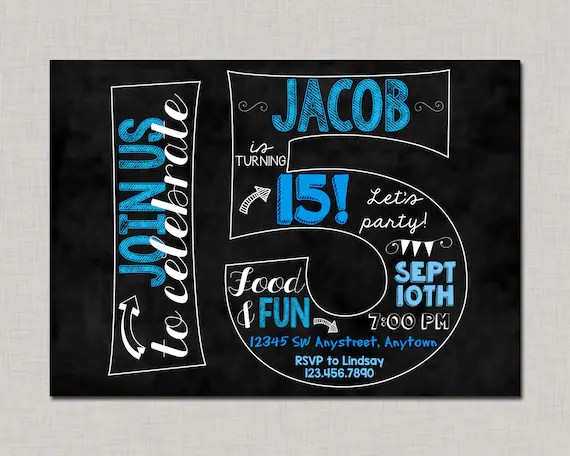 15th birthday invitation 15th birthday invitation for boys 15th birthday invitation boy boy birthday invitation teen birthday invitation