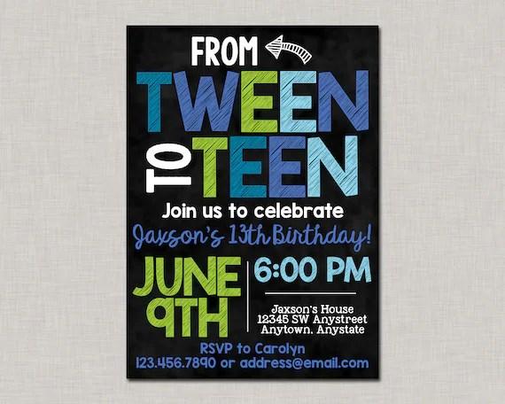 13th Birthday Invitations13th Birthday Invitations Boytween Etsy