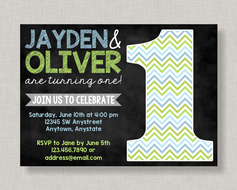 twin first birthday invitations twin