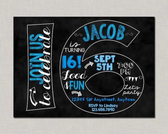 16th birthday invitation 16th birthday invitation for boys 16th birthday invitation boy boy birthday invitation teen birthday invitation
