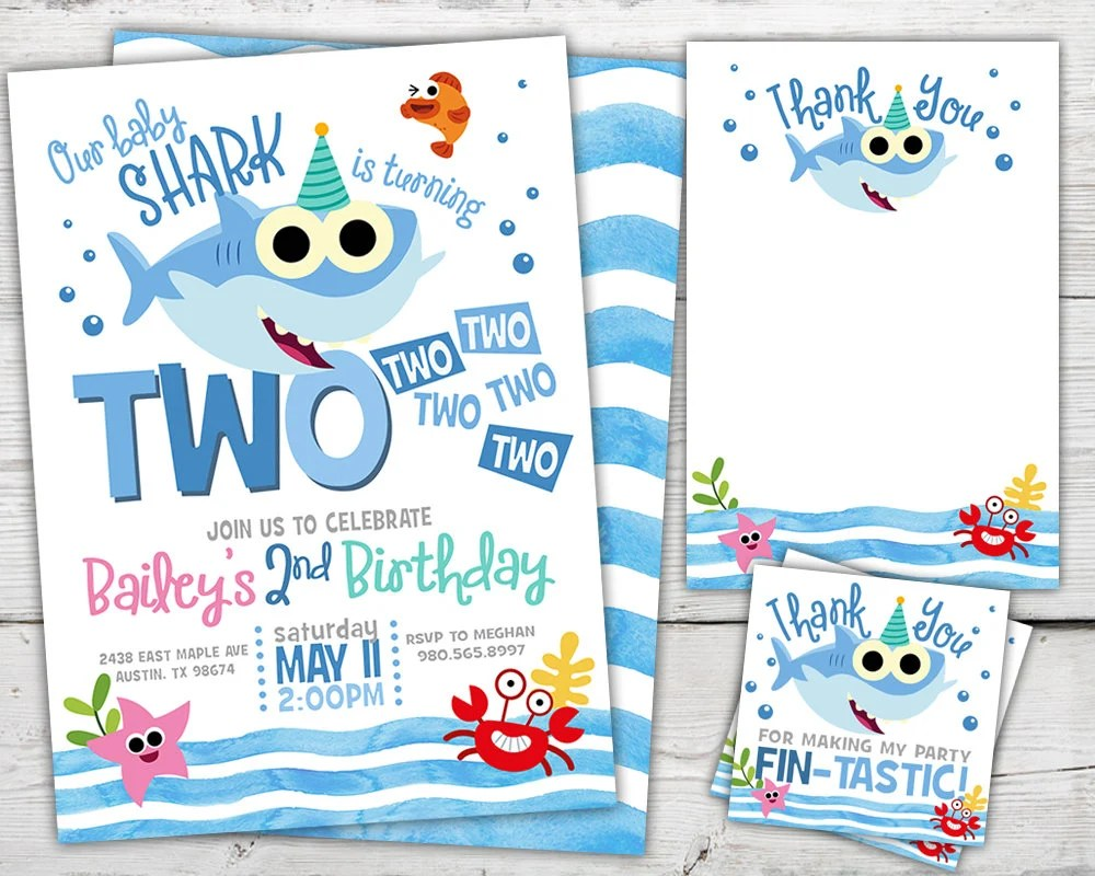 baby shark two two two birthday baby shark birthday invitation baby shark invitation printable baby shark 2nd birthday invitation
