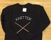 Knitter screen printed sweatshirt SIZE MEDIUM