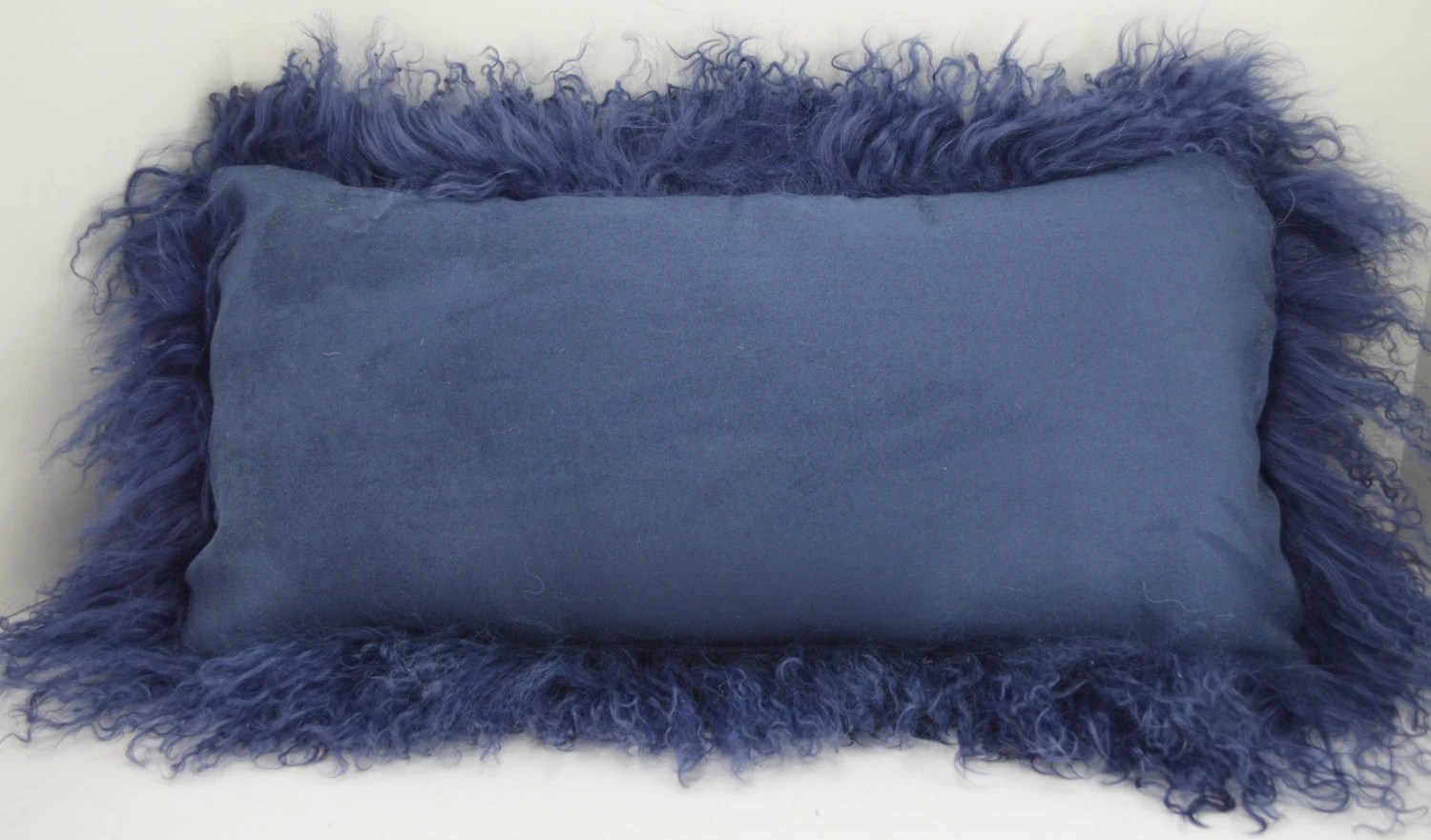 mongolian tibetan tibet lamb fur navy blue pillow new made in usa authentic genuine real cushion insert included