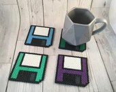 Floppy Disk-Computer-Coasters-Blue-Green-Purple-Turquoise-Fathers Day-Dad-Gift-Present-Birthday-Beaded-Unusual-Set of 4