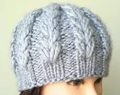 Ready to Ship: Long V-stitch Hat, Women winter hat, knitted toque