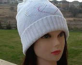 """Ready to ship: White Wool Slouchy Beanie Hat """"Hearts"""""""