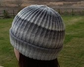 Ready to ship: Grey and White Wool Slouchy Beanie Hat