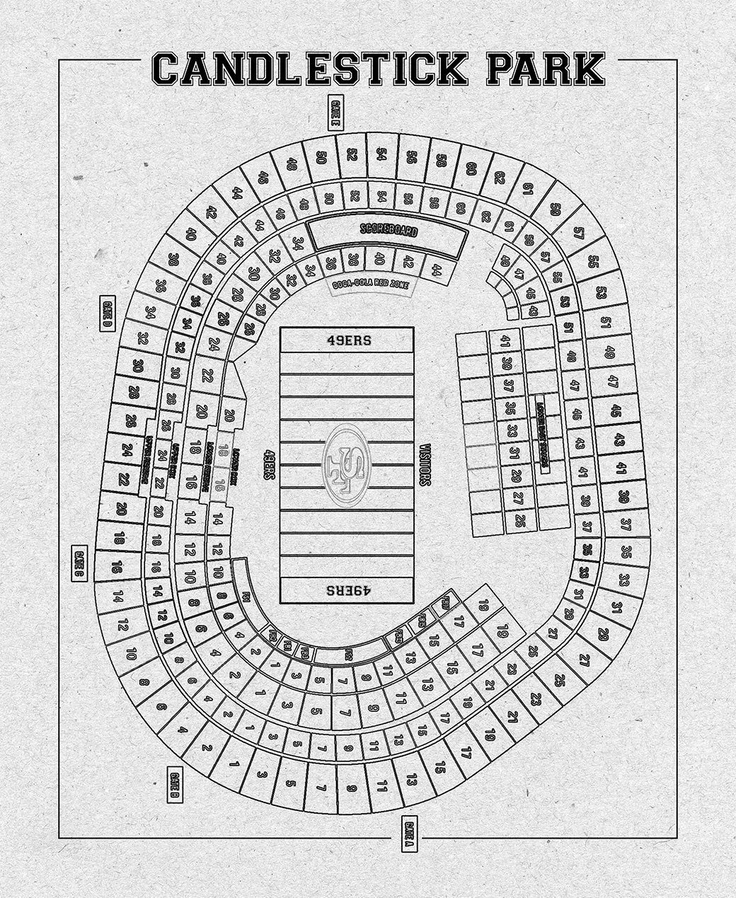 Print Of Vintage Candlestick Park Seating Chart Seating Chart On Photo Paper Matte Paper Or Canvas