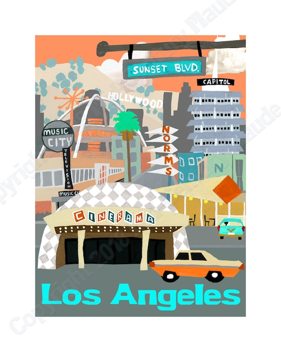 los angeles travel poster mid century modern wall art print retro vintage style painting by maude inspired by mary blair