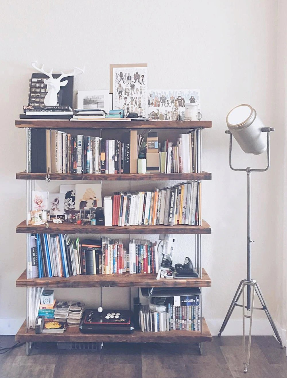 Reclaimed Wood Bookshelf Shelving Modern Urban Roughsawn Old Growth Wood And Recycled Steel Four To Seven 4 To 7 Shelves Option
