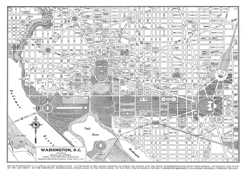 Washington Map Dc Street Map Vintage Print Poster