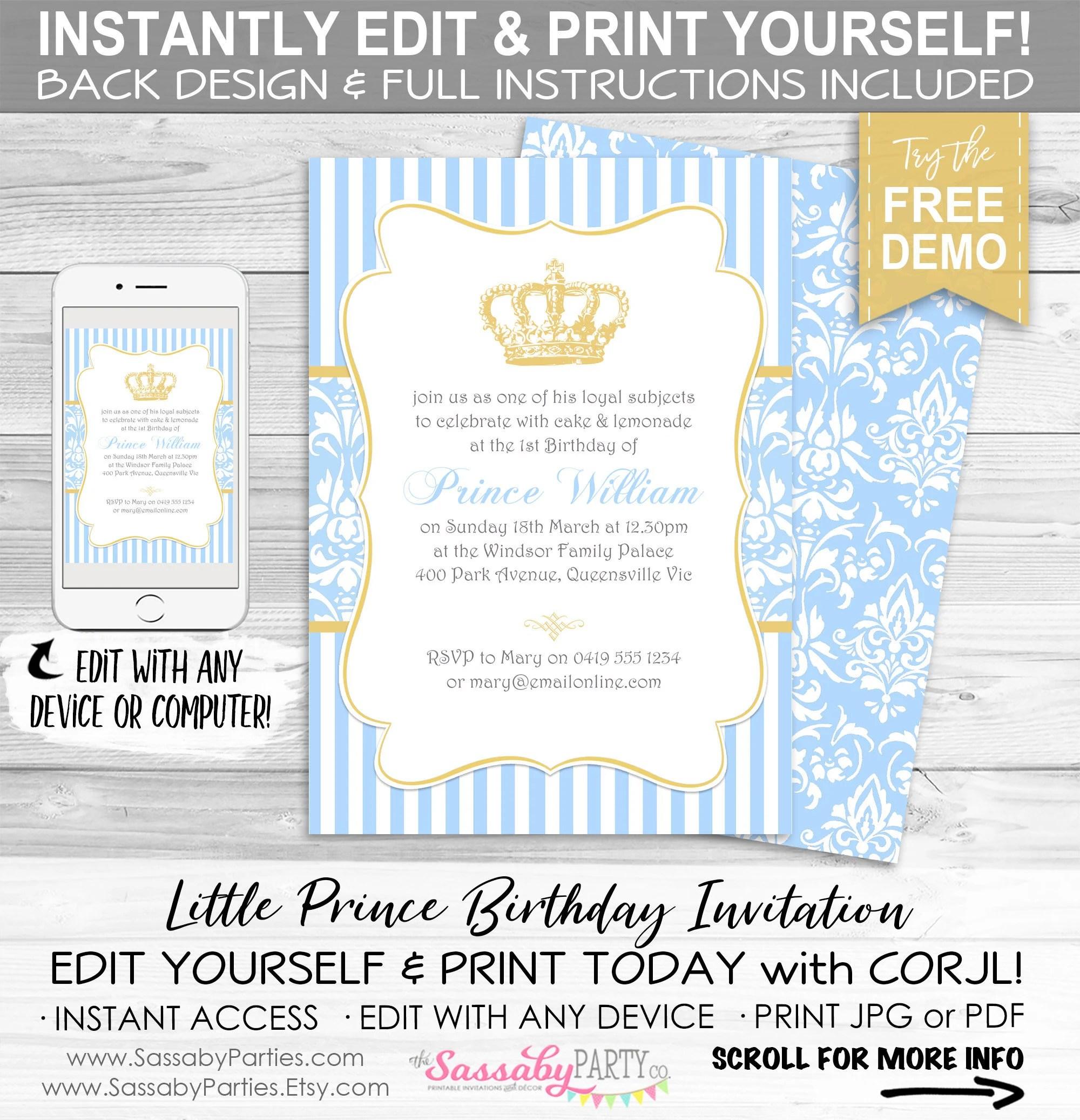 editable printable boys party invite