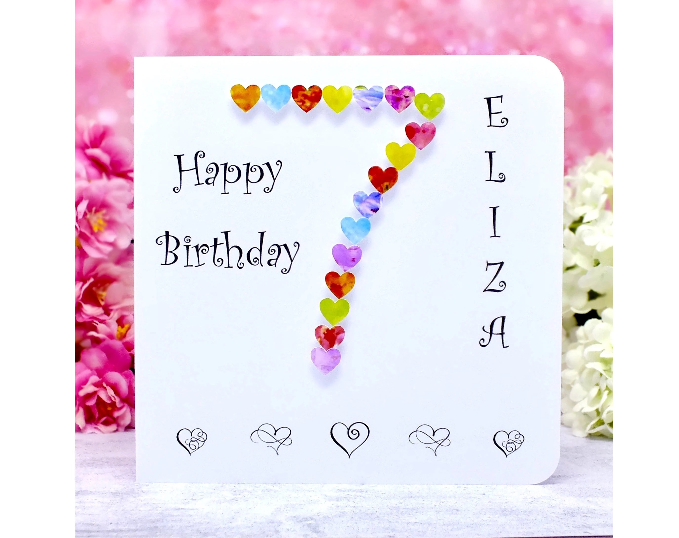 Age 7 Birthday Cards Handmade Personalised For Son Daughter Granddaughter Customised With