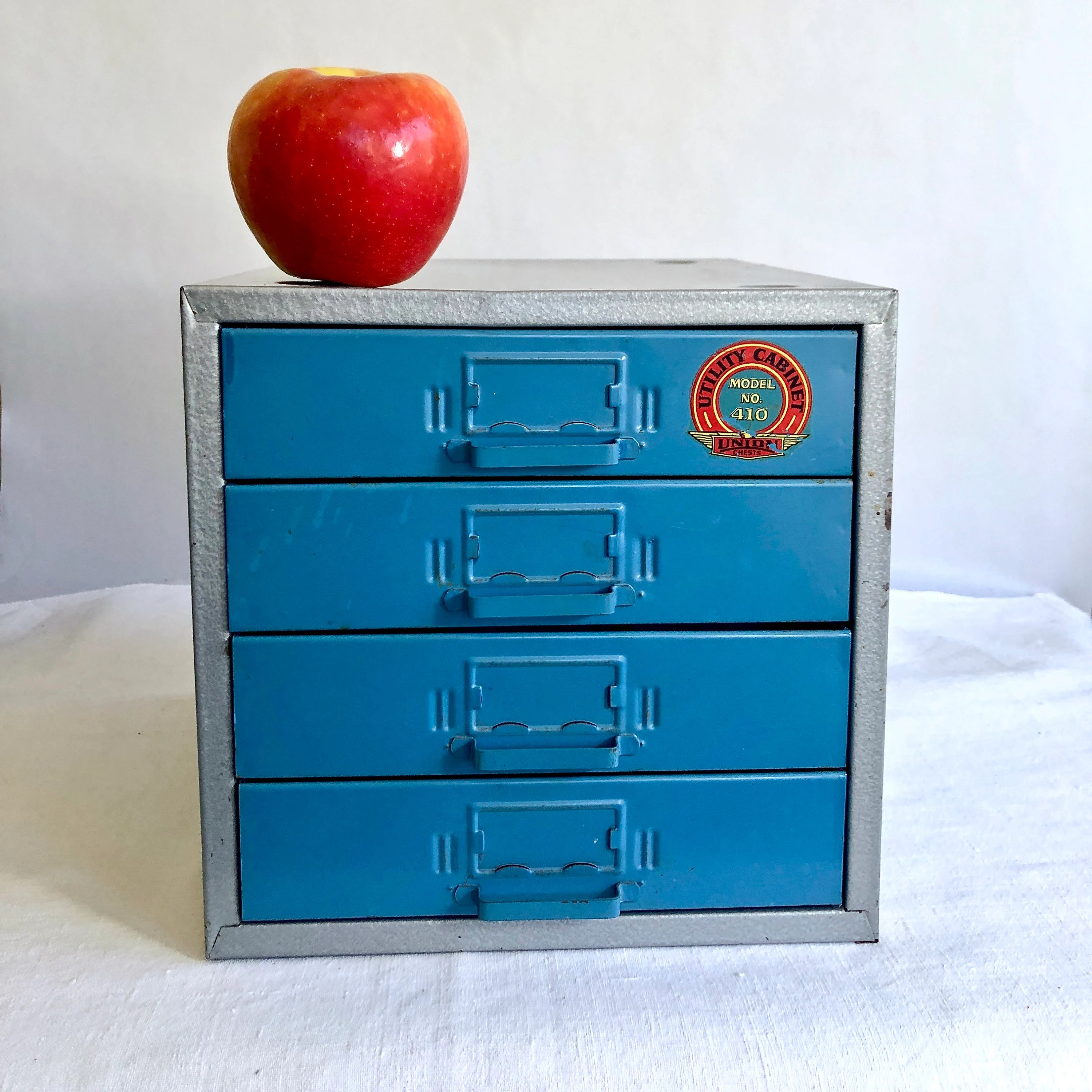 vintage metal tabletop parts storage utility cabinet small tool box 10 x 10 x 11 in union chests model 410 industrial blue grey grid